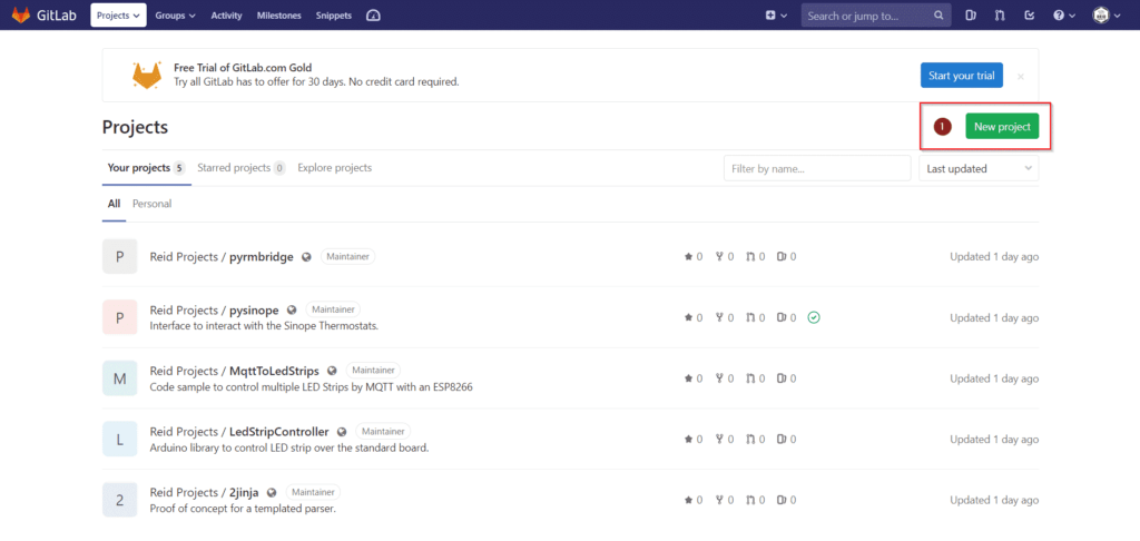 Create a New Project on GitLab